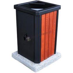Kosz miejski drewniano stalowy z betonową podstawą KF 2