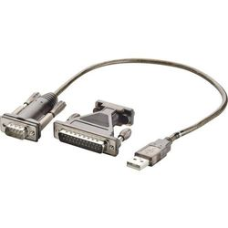 Kabel przejściówka USB 1.1, USB A <=> złącze szeregowe, 0,75 m, giętki, czarny