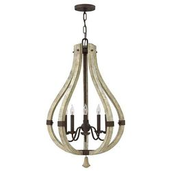 Żyrandol LAMPA wisząca HK/MIDDLEFIELD5 Elstead HINKLEY drewniana OPRAWA świecznikowa patyna szary