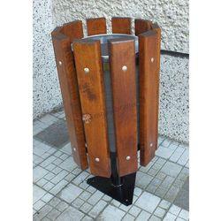 Kosz na śmieci stojący z metalowym wkładem i popielniczką