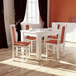 OKAZJA biały komplet do jadalni stół S-44 80/120/165 + 4 krzesła Boss VII