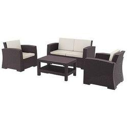 Zestaw mebli ogrodowych z technorattanu Monaco sofa 2 osobowa + 2 fotele + stolik brązowy