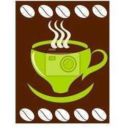 Naklejka Zielony kubek kawy