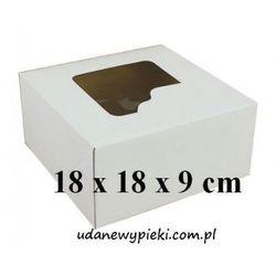 KARTON PUDEŁKO NA TORT BIAŁY Z OKIENKIEM 18x18x9cm