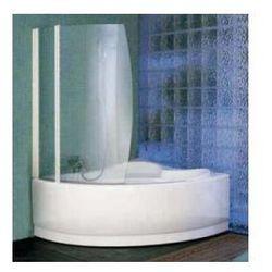 Parawan nawannowy Novellini Aurora 8 obrotowy do Wanny UNA-98x150H cm, profil biały, szkło przeźroczyste AURORA8-1A