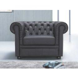 Fotel ze skóry - CHESTERFIELD czarny