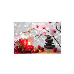 Foto naklejka samoprzylepna 100 x 100 cm - Skład Boże Narodzenie spa z masażu świece, orchidea, kamienie