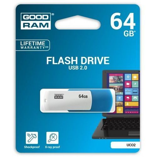 Goodram USB flash disk, 2.0, 64GB, UCO2, blue and white, UCO2-0640KWR11, wsparcie OS Win 7
