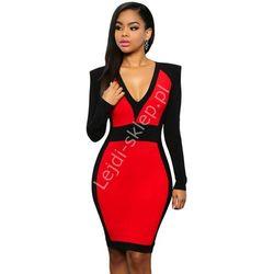 Elegancka dwukolorowa sukienka | czerwona sukienka, sukienki