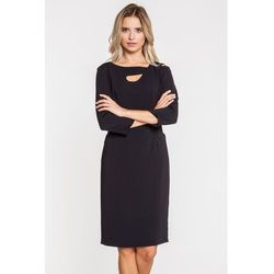 b593eaecbc suknie sukienki czarna sukienka z dlugim rekawem z guzikami na boku ...