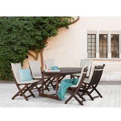 Meble ogrodowe - ogród - stół + 6 krzeseł + 6 beżowych poduszek - MAUI