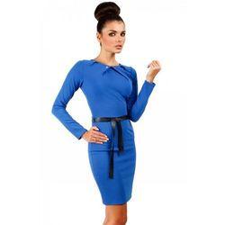 Sukienka ołówkowa z ćwiekami MOE043 chabrowa