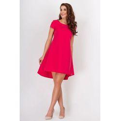 Czerwona Letnia Kloszowana Sukienka z Dłuższym Tyłem w Kontrafałdy