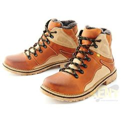 KENT 220 KARMELOWE - Wysokie buty zimowe ze skóry, naturalne futro