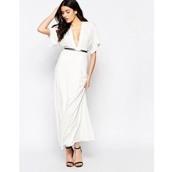 Twin Sister Maxi Dress with Kimono Sleeves and Gold Bar Belt - Cream