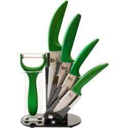 4 Elem. Zestaw Noży Ceramicznych ze Stojakiem + Obieraczka - RL-C4ST GREEN