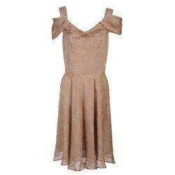 Jedwabna, beżowa sukienka