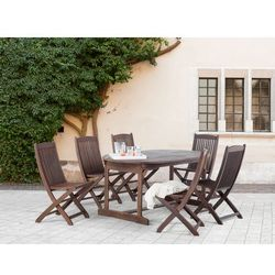 Meble ogrodowe - brązowe - ogród – taras - stół + 6 krzeseł – MAUI