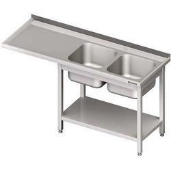 Stół ze zlewem dwukomorowym i miejscem na urządzenie STALGAST 1900x600x900 prawy