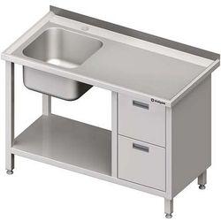Stół ze zlewem jednokomorowym z dwiema szufladami i półką STALGAST 1000x600x850 lewy