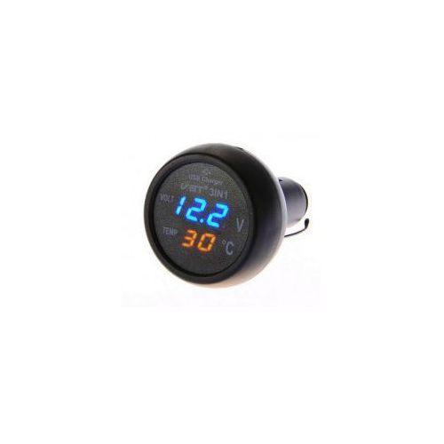 3 w 1 Alloet Dual USB Ładowarka Samochodowa LED Cyfrowy
