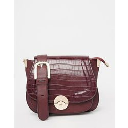 Dune Delphine Croc Effect Winged Saddle Bag in Berry - Multi