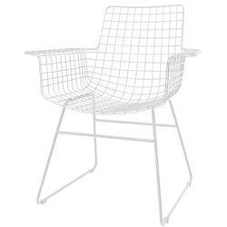 HK Living Krzesło metalowe WIRE biała z podłokietnikami FUR0025