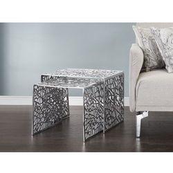 Nowoczesny stolik kawowy - zestaw dwuczęściowy - aluminium - MORONI