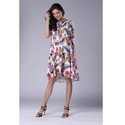 602708d45b suknie sukienki lekka zwiewna sukienka z falbanka na dekolcie 1467 ...