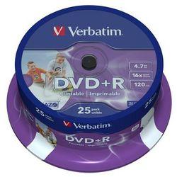DVD+R VERBATIM AZO 4.7GB 16X Wide Inkjet Printable ID Brand SPINDLE 25SZT- wysyłka dziś do godz.18:30. oszczędzaj czas - zamówisz i masz!