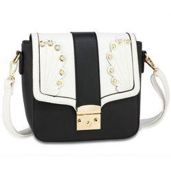 47c612627a744 Ozdobna torebka damska listonoszka na ramię czarno-biała - czarny ||biały