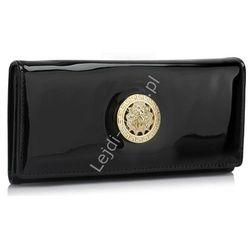 Czarny portfel | lakierowany portfel damski