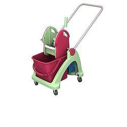 Wózek pojedynczy antybakteryjny z tworzywa sztucznego z aluminiową rączką i prasą.