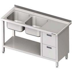 Stół ze zlewem dwukomorowym z dwiema szufladami i półką STALGAST 1900x700x850 lewy