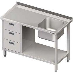 Stół ze zlewem jednokomorowym z trzema szufladami i półką STALGAST 1500x700x850 prawy