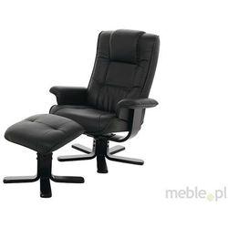 Actona Limbo Fotel + Podnóżek Czarny Skóra Ekologiczna - 0000039399