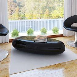 vidaXL Oryginalny stolik do salonu, czarny, lśniący, włókno szklane Darmowa wysyłka i zwroty