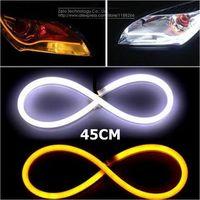 2x 45cm DIY White+Amber Flexible Strip Turn Signal Tube Angel Eye DRL LED Daytime Running Head Headlight Light For Audi