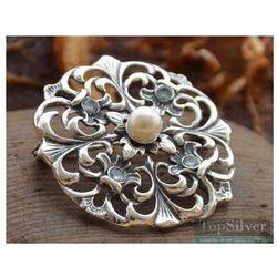 LANIA - srebrna broszka akwamaryny i perła