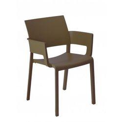 Designerskie krzesło hotelowe z podłokietnikami z tworzywa Fiona brązowe