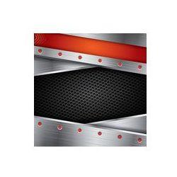 Foto naklejka samoprzylepna 100 x 100 cm - Metal tle z ramą stalową i czerwonymi elementami