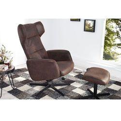 Fotel Classic z podnóżkiem brązowy
