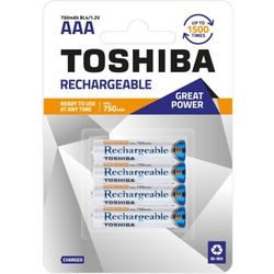 TOSHIBA Akumulatory Rechargeable AAA R3 min. 750mAh TOSHIBA AKU R3 750mAh AAA