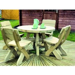 Komplet ogrodowy drewniany Miłosz z okrągłym stołem