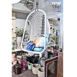 HK Living :: Wiszący fotel rattanowy (biały) - biały