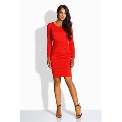 Czerwona sukienka ołówkowa z dekoracyjnym drapowaniem