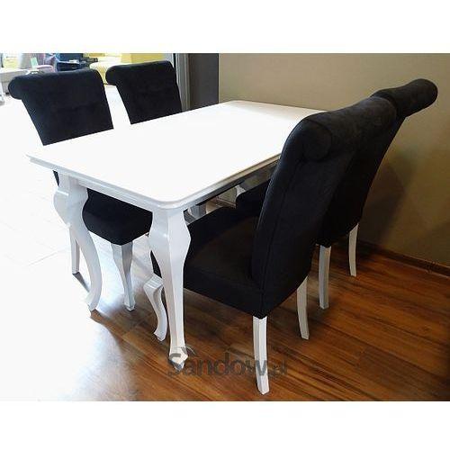Stylowy Biały Zestaw Do Salonu Stół 4 Tapicerowane Krzesła