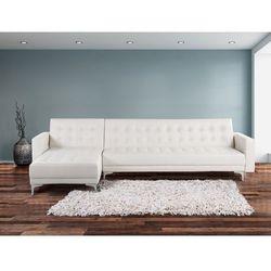 Sofa biala - kanapa - skórzana - rozkladana - naroznik - ABERDEEN