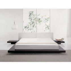 Luksusowe łóżko 180x200 cm z szafkami nocnymi - drewno skóra - ZEN