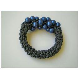 bransoletka szara ze stalowymi perełkami